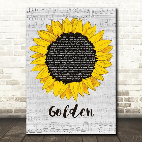 Harry Styles Golden Grey Script Sunflower Song Lyric Music Art Print
