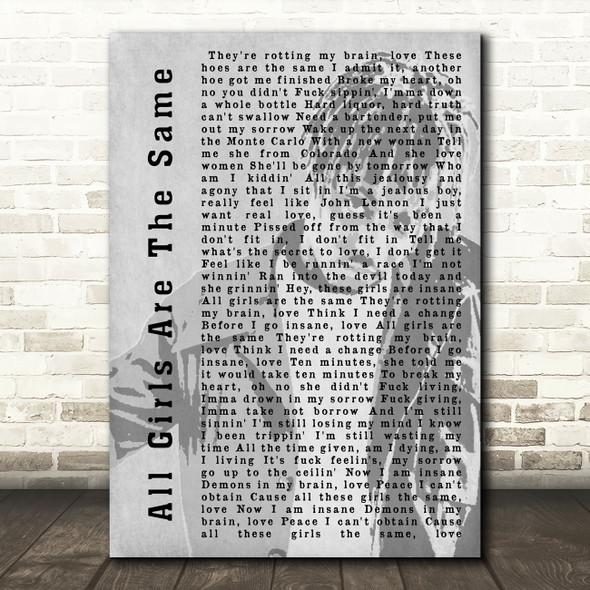 Juice Wrld All Girls Are The Same Shadow Song Lyric Music Art Print