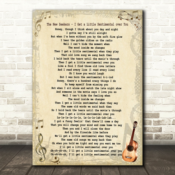 The New Seekers I Get a Little Sentimental over You Vintage Guitar Song Lyric Music Art Print