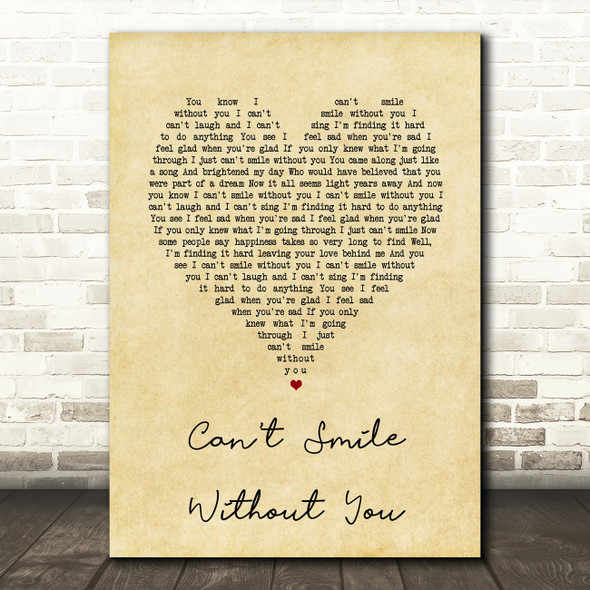 Barry Manilow Can't Smile Without You Vintage Heart Song Lyric Quote Print
