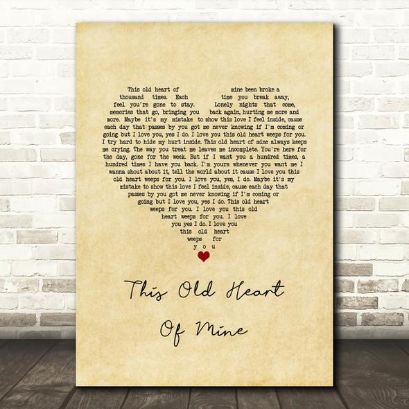 Rod Stewart This Old Heart Of Mine Vintage Heart Song Lyric Music Art Print