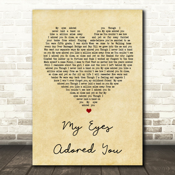 Frankie Valli My Eyes Adored You Vintage Heart Song Lyric Quote Print