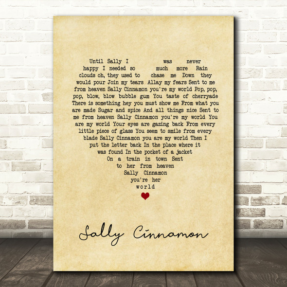 The Stone Roses Sally Cinnamon Vintage Heart Song Lyric Quote Print