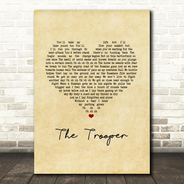 Iron Maiden The Trooper Vintage Heart Song Lyric Music Art Print