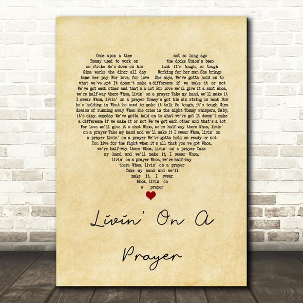 Bon Jovi Livin' On A Prayer Vintage Heart Song Lyric Quote Print