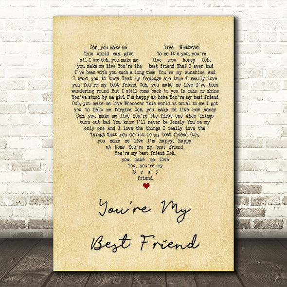 Queen You're My Best Friend Vintage Heart Song Lyric Quote Print