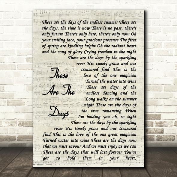 Van Morrison These Are The Days Vintage Script Song Lyric Music Art Print