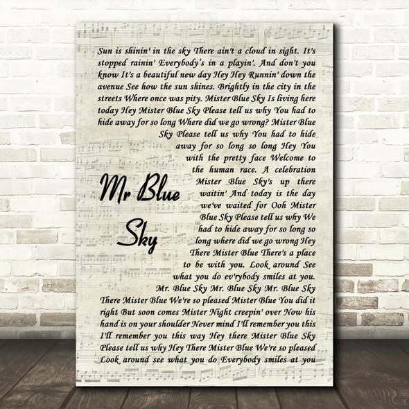 ELO Mr Blue Sky Vintage Script Song Lyric Music Art Print