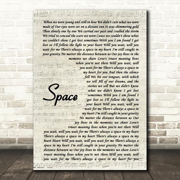 Biffy Clyro Space Vintage Script Song Lyric Music Art Print
