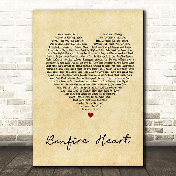 James Blunt Bonfire Heart Vintage Heart Song Lyric Quote Print