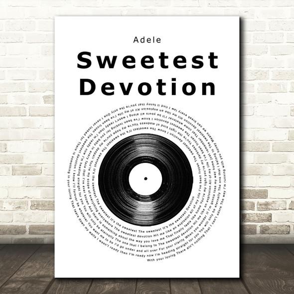 Adele Sweetest Devotion Vinyl Record Song Lyric Music Art Print