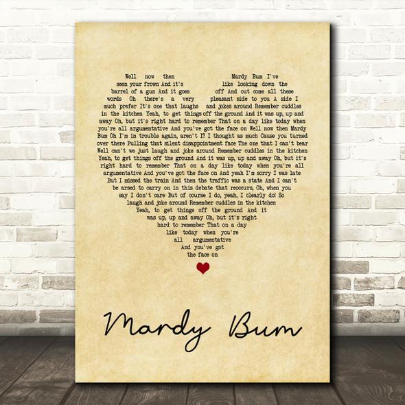 Arctic Monkeys Mardy Bum Vintage Heart Song Lyric Quote Print