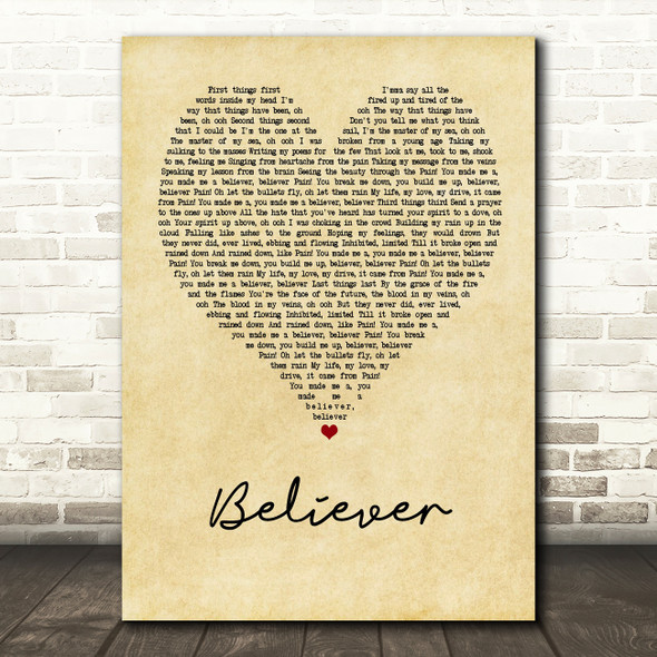 Imagine Dragons Believer Vintage Heart Song Lyric Quote Print