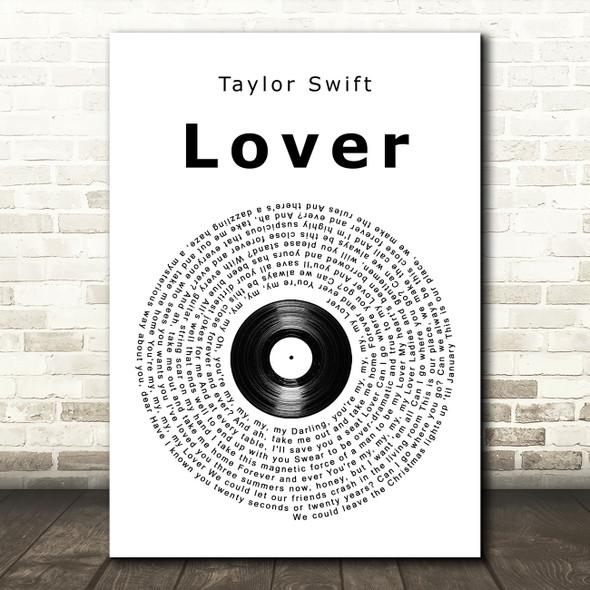 Taylor Swift Lover Vinyl Record Song Lyric Music Art Print