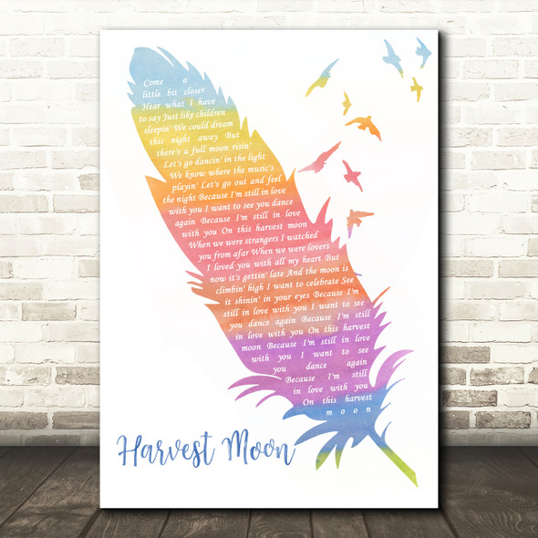 Neil Young Harvest Moon Watercolour Feather & Birds Song Lyric Music Art Print