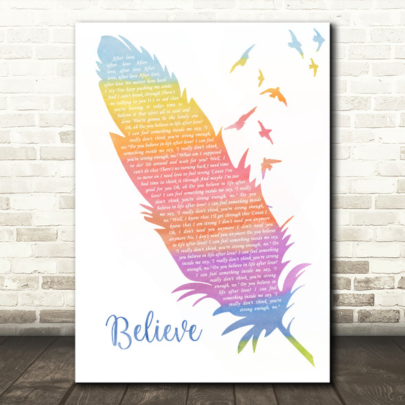 Cher Believe Watercolour Feather & Birds Song Lyric Music Art Print