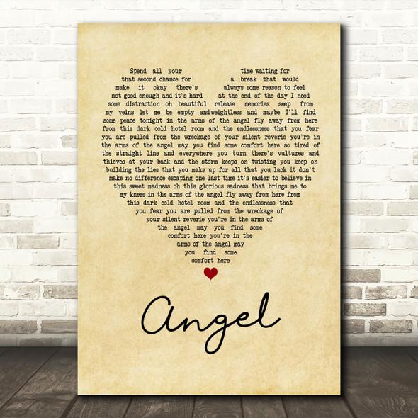 Sarah McLachlan Angel Vintage Heart Song Lyric Quote Print