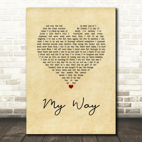 Frank Sinatra My Way Vintage Heart Song Lyric Quote Print