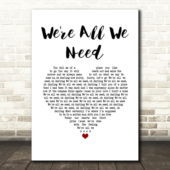 Above & Beyond feat. Zoë Johnston We're All We Need White Heart Song Lyric Music Art Print