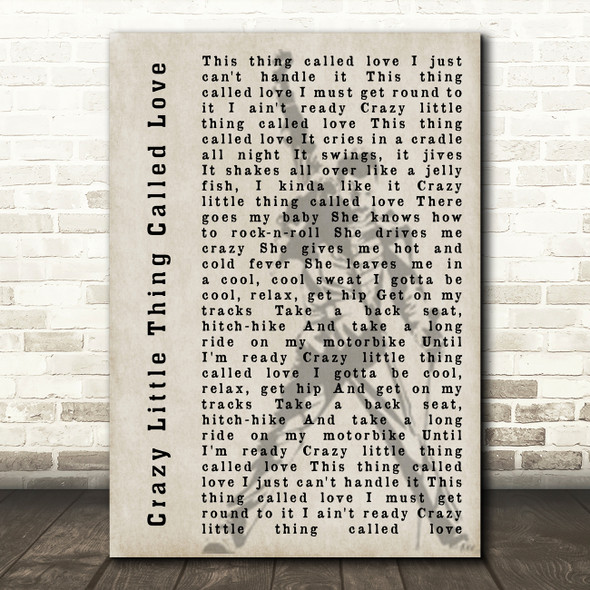 Queen Crazy Little Thing Called Love Freddie Mercury Silhouette Song Lyric Print