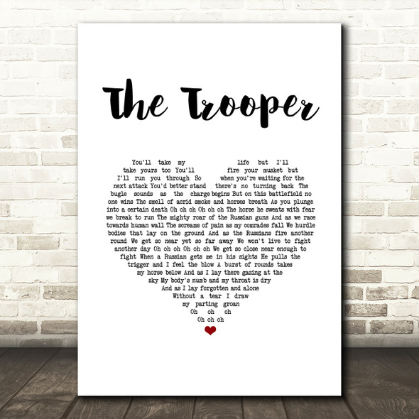 Iron Maiden The Trooper White Heart Song Lyric Music Art Print