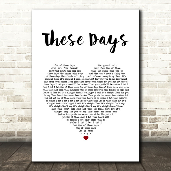 Foo Fighters These Days White Heart Song Lyric Music Art Print