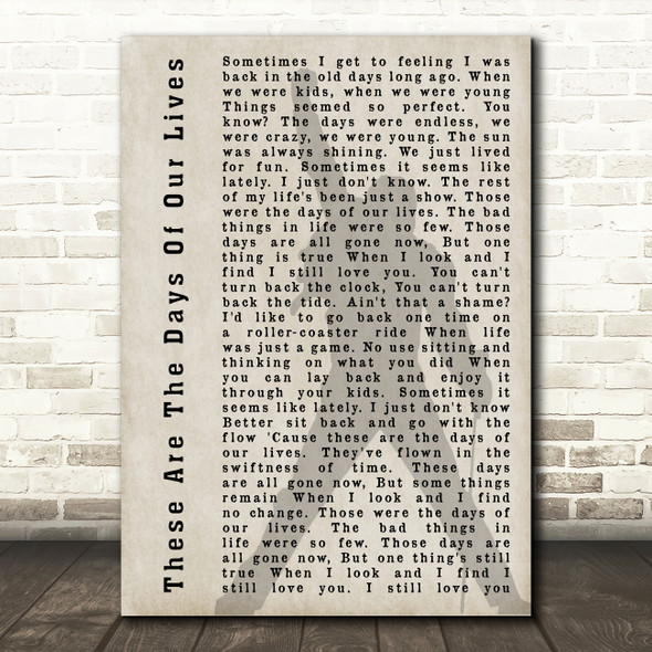 Queen These Are The Days Of Our Lives Freddie Mercury Shadow Song Lyric Print