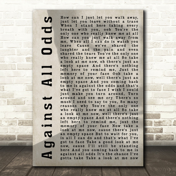 Phil Collins Against All Odds (Take A Look At Me Now) Shadow Song Lyric Print