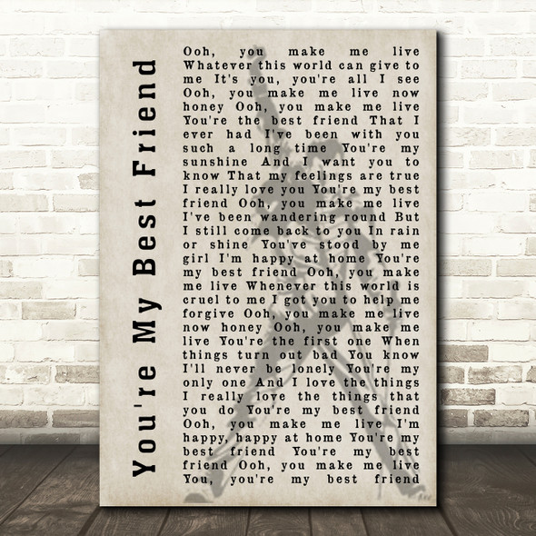 Queen You're My Best Friend Freddie Mercury Silhouette Song Lyric Quote Print