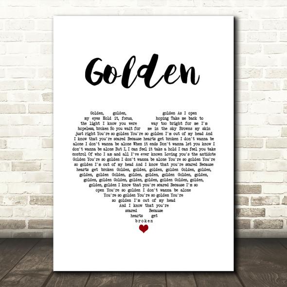 Harry Styles Golden White Heart Song Lyric Music Art Print