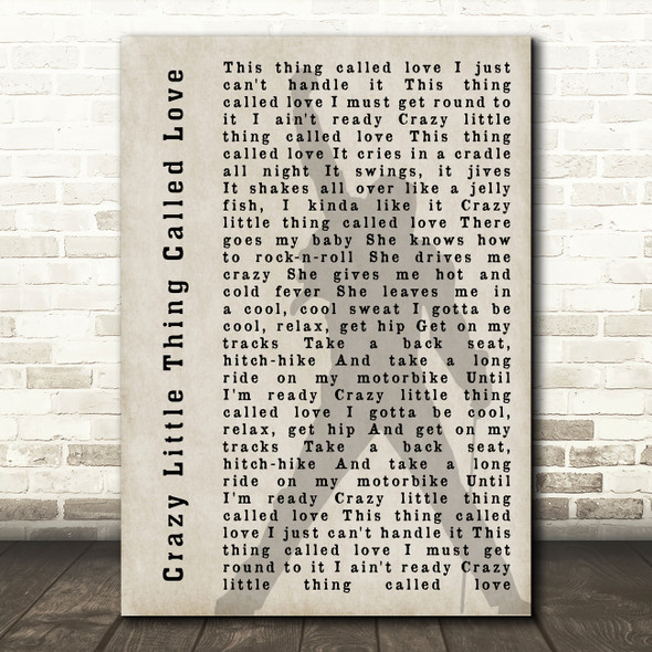 Queen Crazy Little Thing Called Love Freddie Mercury Shadow Song Lyric Print