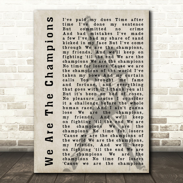 Queen We Are The Champions Freddie Mercury Silhouette Song Lyric Quote Print