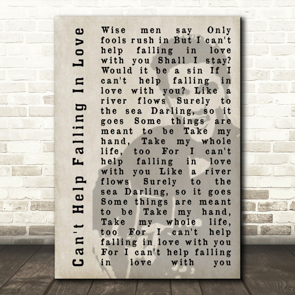 Elvis Presley Can't Help Falling In Love Face Shadow Song Lyric Quote Print