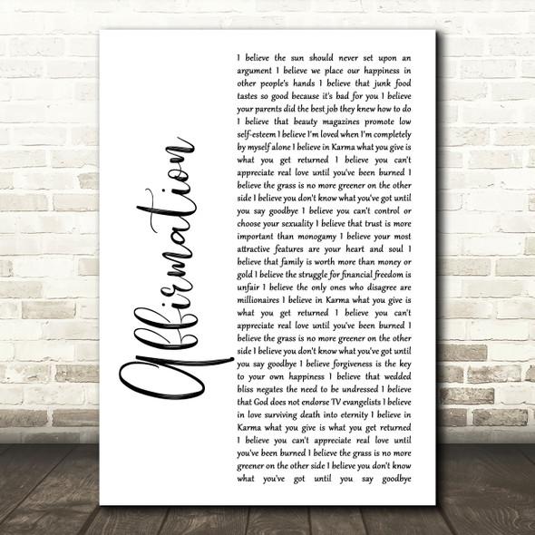 Savage Garden Affirmation White Script Song Lyric Music Art Print