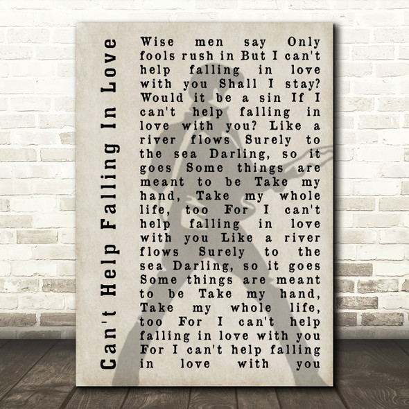 Elvis Presley Can't Help Falling In Love Pose Shadow Song Lyric Quote Print