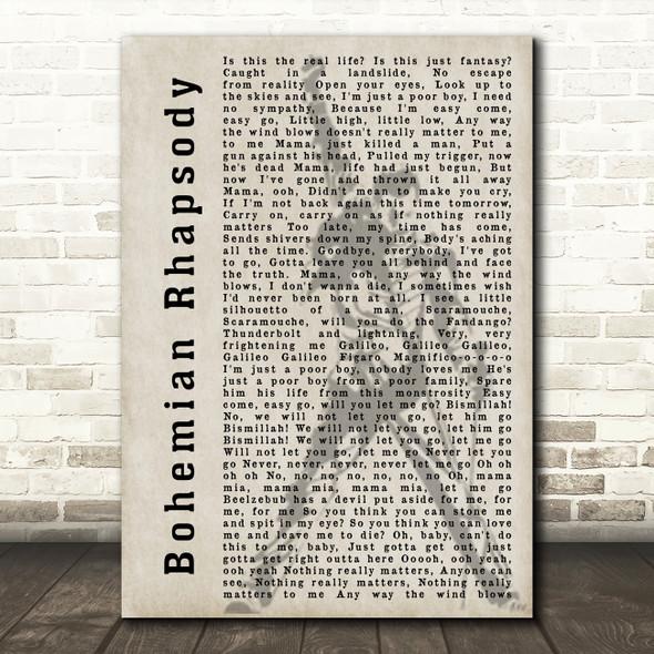 Queen Bohemian Rhapsody Freddie Mercury Silhouette Song Lyric Quote Print