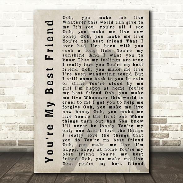 Queen You're My Best Friend Freddie Mercury Shadow Song Lyric Quote Print