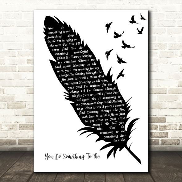 Paul Weller You Do Something To Me Black & White Feather & Birds Song Lyric Art Print