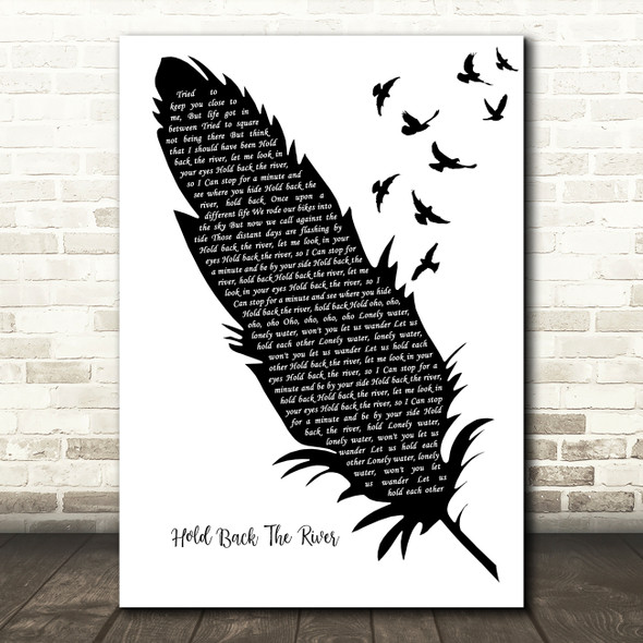 James Bay Hold Back The River Black & White Feather & Birds Song Lyric Art Print