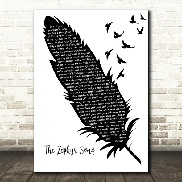 Red Hot Chili Peppers The Zephyr Song Black & White Feather & Birds Song Lyric Art Print