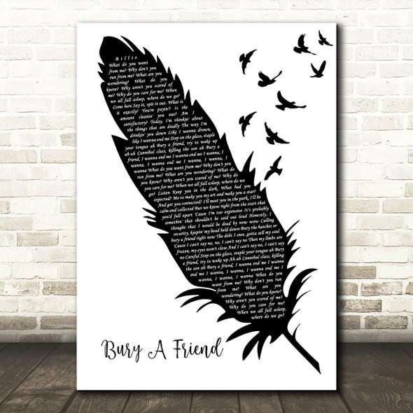 Billie Eilish Bury A Friend Black & White Feather & Birds Song Lyric Art Print