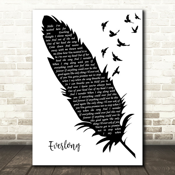 Foo Fighters Everlong Black & White Feather & Birds Song Lyric Art Print