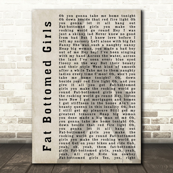 Queen Fat Bottomed Girls Freddie Mercury Shadow Song Lyric Quote Print