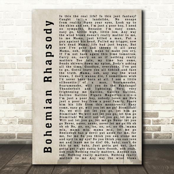 Queen Bohemian Rhapsody Freddie Mercury Shadow Song Lyric Quote Print