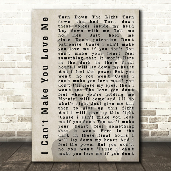 George Michael I Can't Make You Love Me Shadow Song Lyric Quote Print