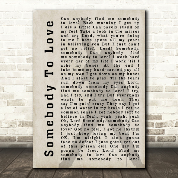 Queen Somebody To Love Freddie Mercury Shadow Song Lyric Quote Print