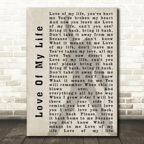 Queen Love Of My Life Freddie Mercury Shadow Song Lyric Quote Print