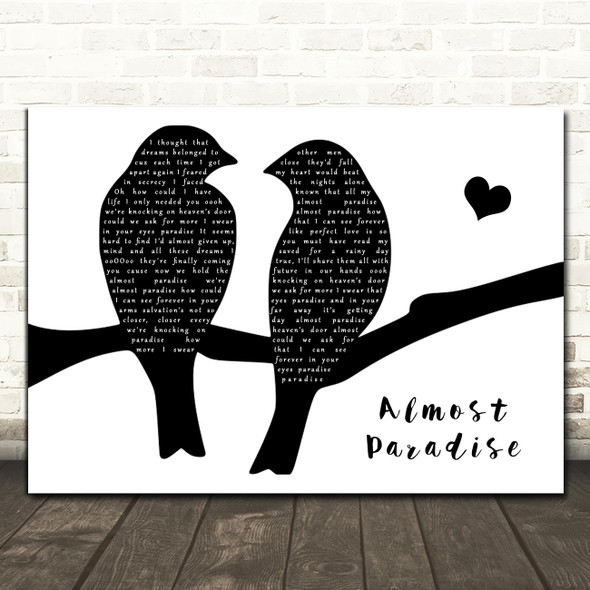 Kenny Loggins Almost Paradise Lovebirds Black & White Song Lyric Art Print