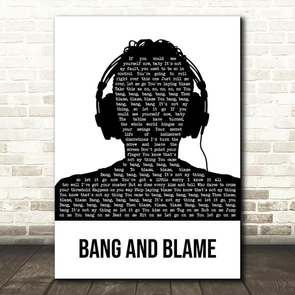 R.E.M. Bang And Blame Black & White Man Headphones Song Lyric Art Print