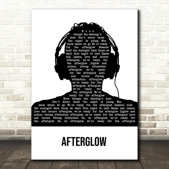 Wilkinson Afterglow Black & White Man Headphones Song Lyric Art Print